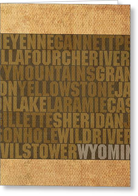 Wyoming Word Art State Map On Canvas Greeting Card