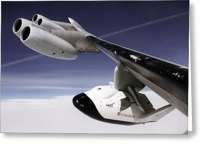 X-38 Spacecraft On B-52 Wing Greeting Card by Nasa