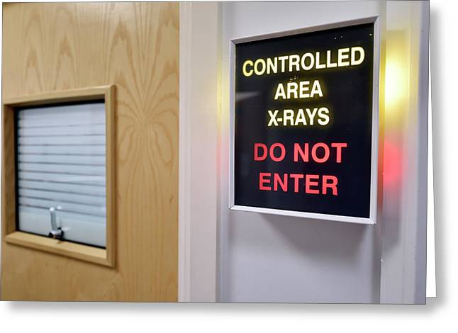 X-ray Room Warning Box Greeting Card by Dr P. Marazzi