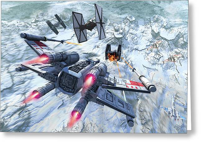 X-wing Attacking Tie Fighter Over An Greeting Card