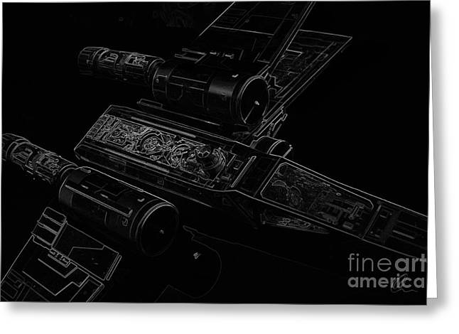 X Wing Fighter Bw Greeting Card