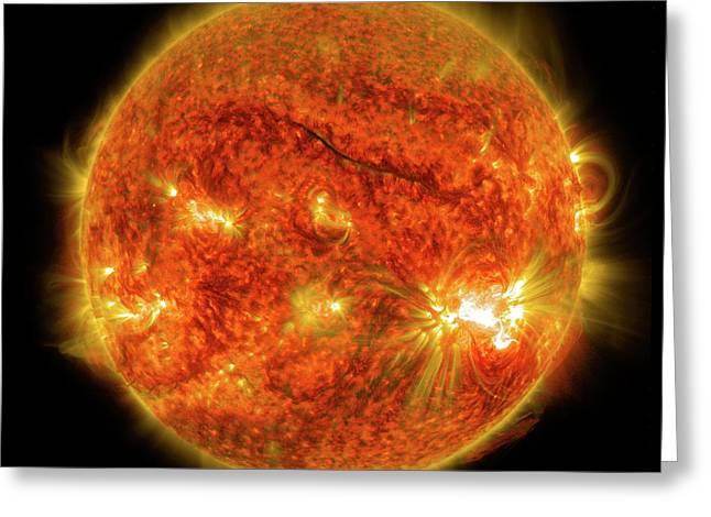 X2-class Solar Flare Greeting Card by Nasa/sdo