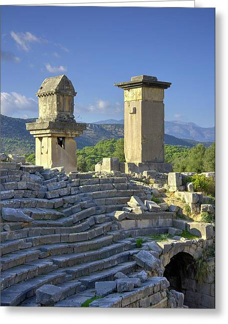 Xanthos Tombs And Amphitheatre Greeting Card