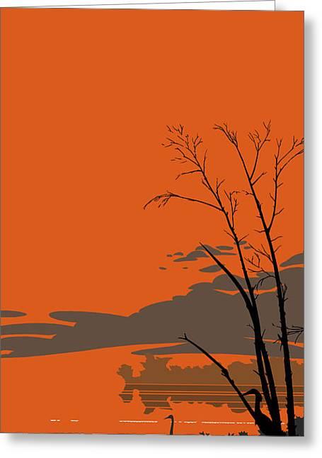 Abstract Tropical Birds Sunset Large Pop Art Nouveau Landscape 3 - Left Side Greeting Card
