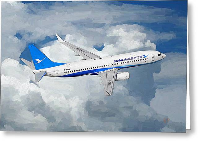 Xiamen Airlines Boeing 737 800 Greeting Card by Nop Briex