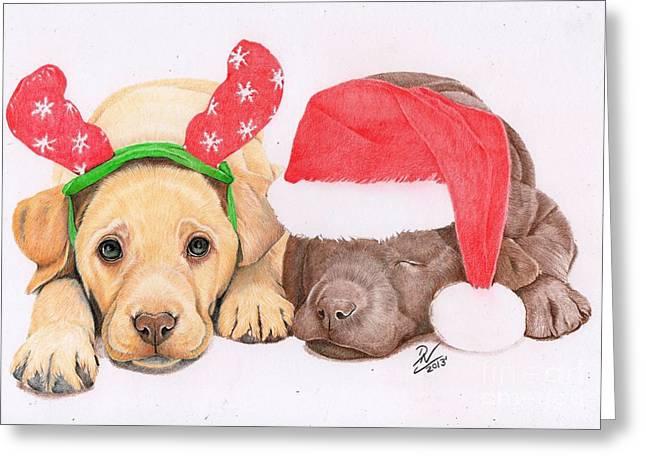 Xmas Pups Greeting Card by Deborah Nicholas