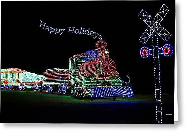 Xmas Tree Train Happy Holidays Greeting Card by Thomas Woolworth