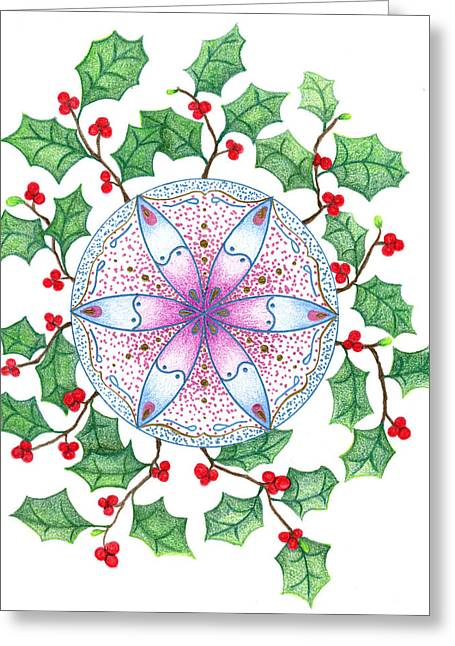 X'mas Wreath Greeting Card by Keiko Katsuta