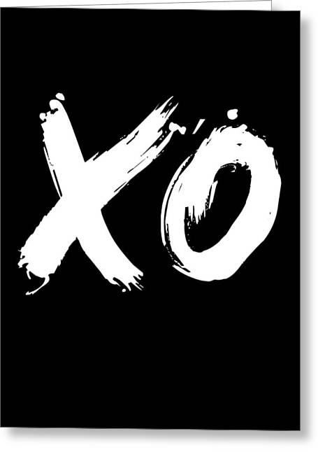 Xo Poster Black Greeting Card by Naxart Studio