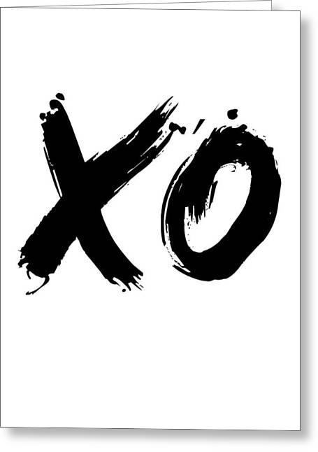 Xo Poster White Greeting Card by Naxart Studio