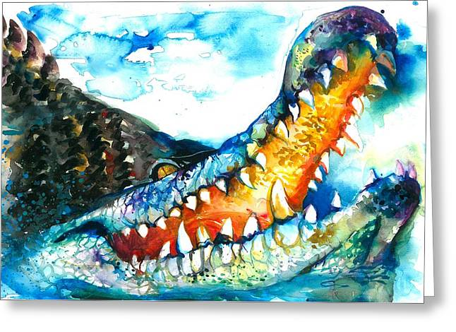 Xxl Format Crocodile Watercolor Greeting Card