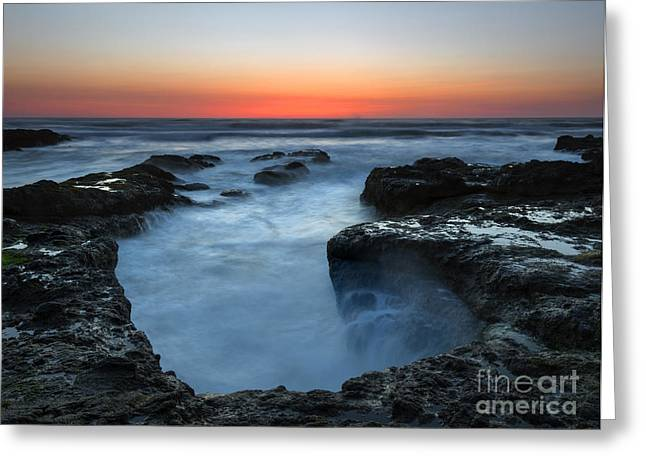 Yachats Sunset Greeting Card by Mike  Dawson