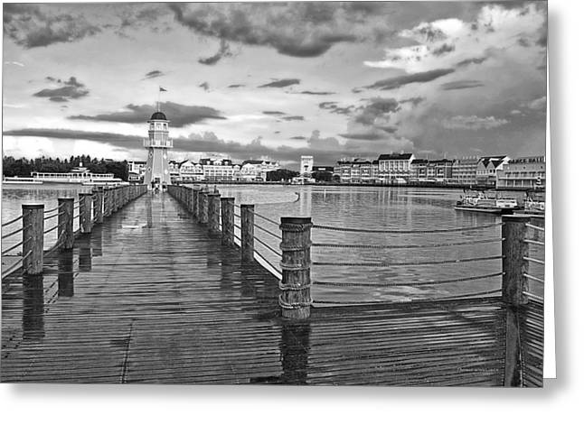 Yacht And Beach Lighthouse In Black And White Walt Disney World Greeting Card by Thomas Woolworth