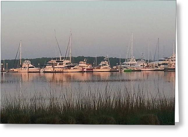 Yacht And Harbor View Greeting Card