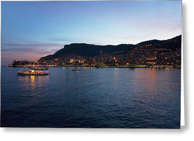 Yacht And Seaside Night View Greeting Card