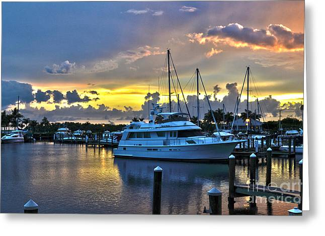 Greeting Card featuring the photograph Yacht At Cape Coral Florida Marina And Resort 2 by Timothy Lowry