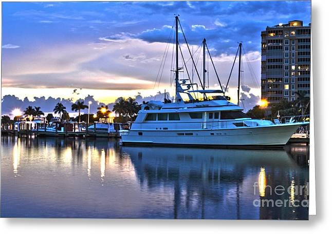Greeting Card featuring the photograph Yacht At Marina In Cape Coral by Timothy Lowry