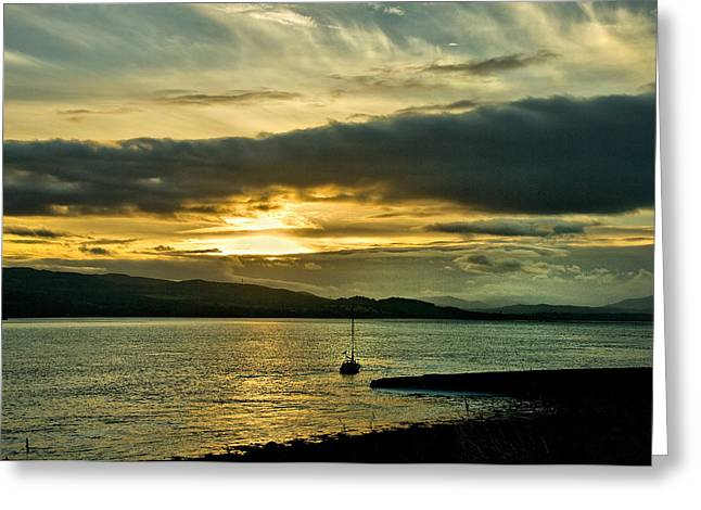 Greeting Card featuring the photograph Yacht At Sunset by Jacqi Elmslie