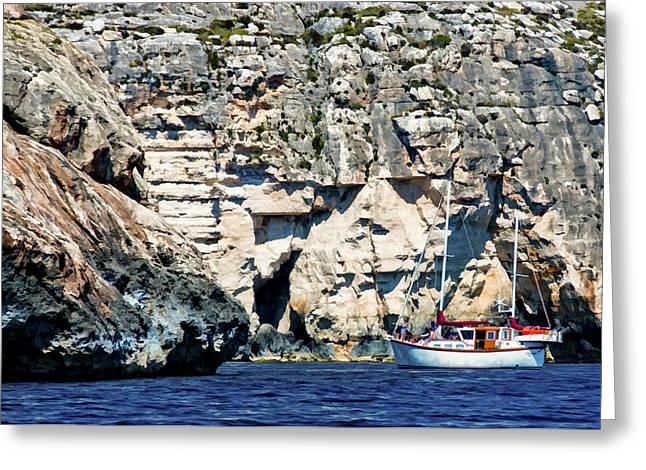 Yacht In Sea Near Popeye Village Greeting Card