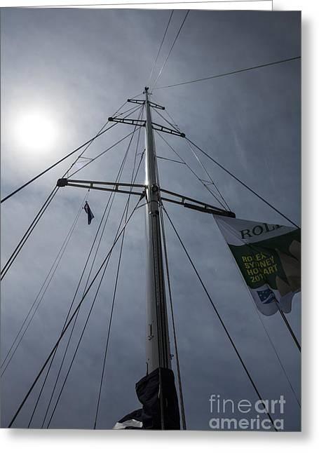 Yacht Mast With Sun Greeting Card