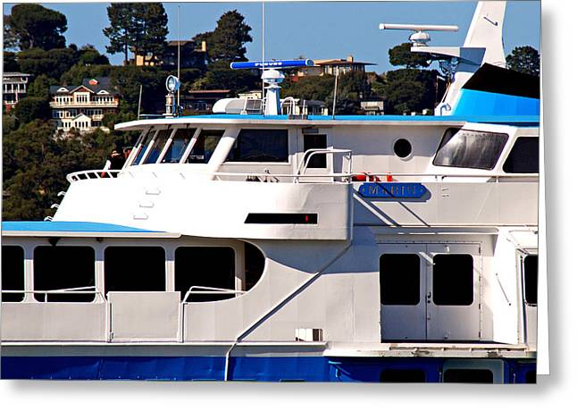 Yacht On Ocean Sausalito California Greeting Card