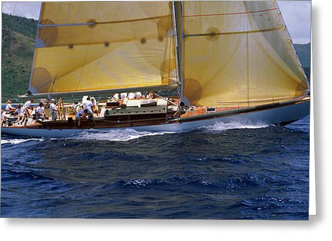 Yacht Racing In The Sea, Antigua Greeting Card by Panoramic Images
