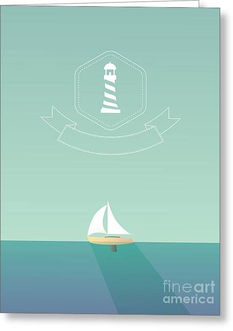 Yacht Sailing In The Sea. Traveling Greeting Card
