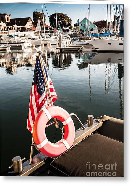 Yacht With American Flag At The Pier  Greeting Card