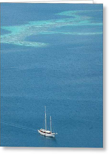 Yacht With Coral Reef Behind Greeting Card