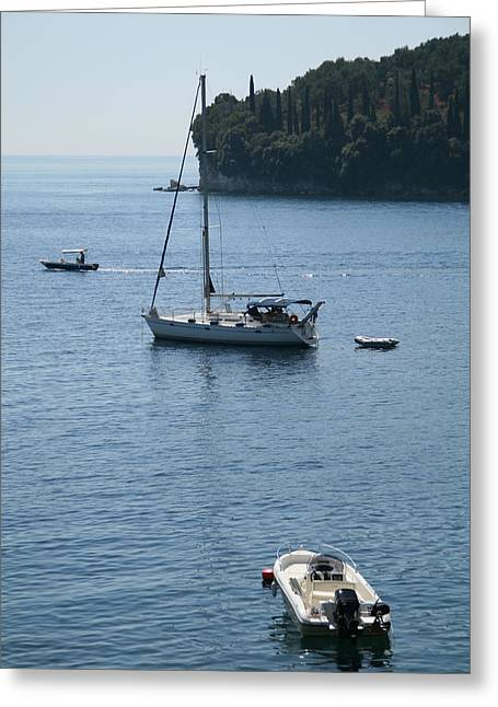 Yachts At Anchor Greeting Card