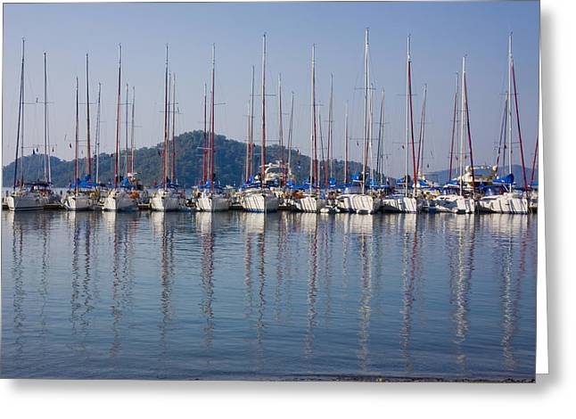 Yachts Docked In The Harbor Gocek Greeting Card by Christine Giles