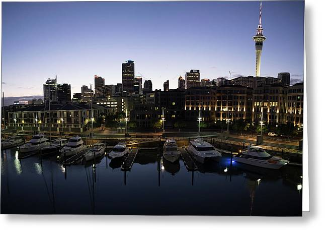 Yachts In Early Morning At Viaduct Greeting Card by Panoramic Images