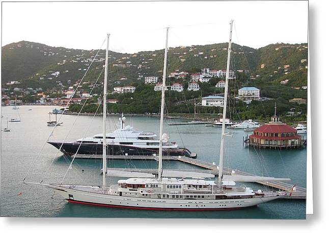 Yachts In St. Thomas Greeting Card by Steven Parker