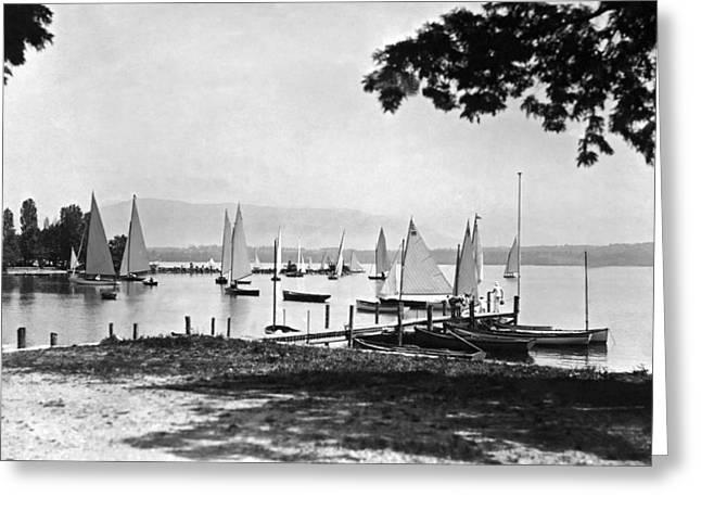 Yachts On Lake Geneva Greeting Card by Underwood Archives