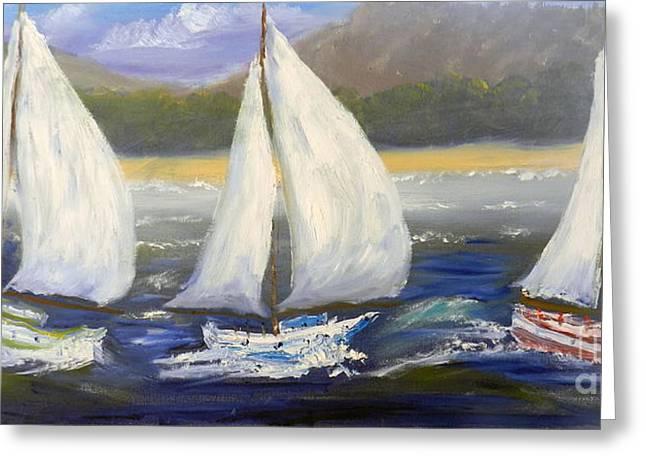 Yachts Sailing Off The Coast Greeting Card