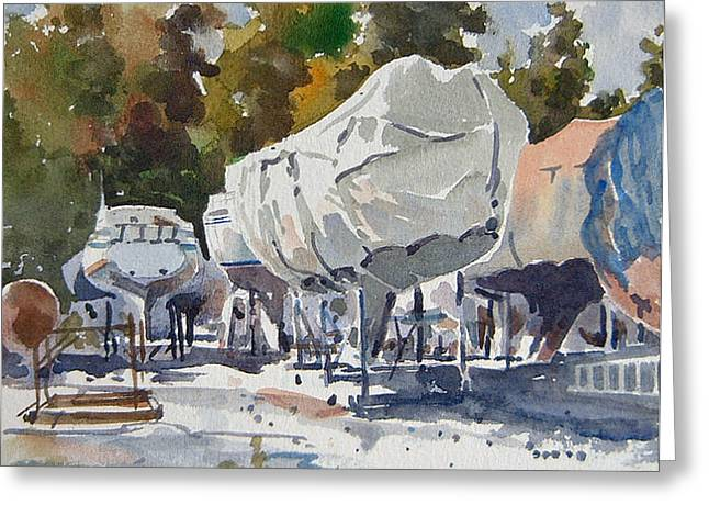 Yachts Under Wrap Greeting Card