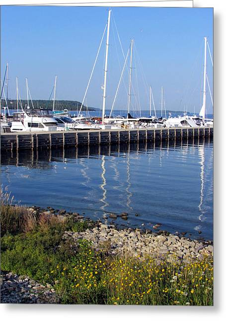 Yachtworks Marina Sister Bay Greeting Card by David T Wilkinson
