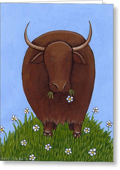 Whimsical Yak Painting Greeting Card by Christy Beckwith