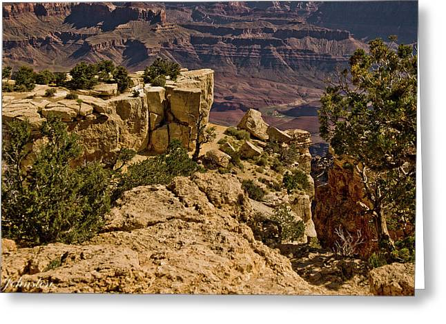 Greeting Card featuring the photograph Yaki Point 3 The Grand Canyon by Bob and Nadine Johnston