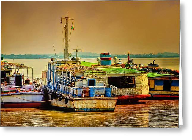 Greeting Card featuring the photograph Yangon Harbour by Wallaroo Images