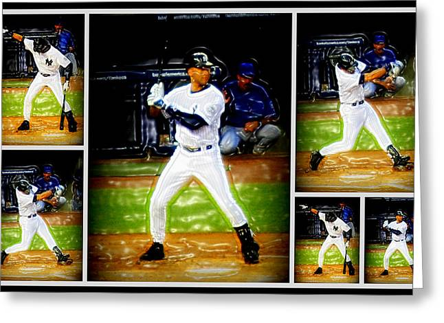 Yankee Captain Derek Jeter Greeting Card by Aurelio Zucco
