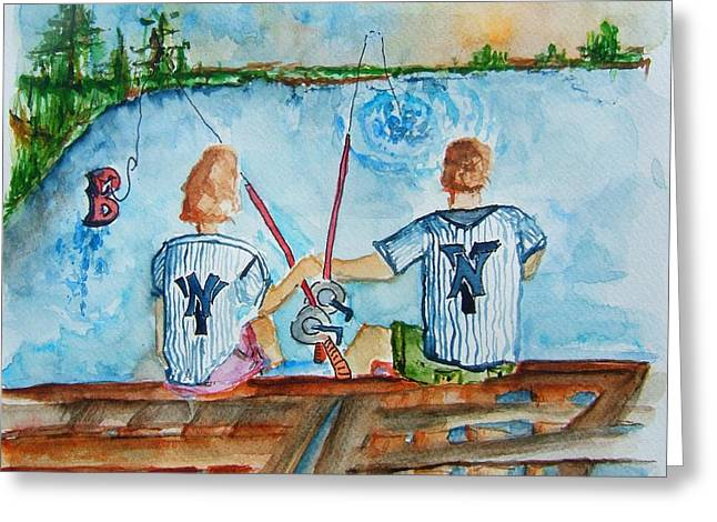 Yankee Fans Day Off Greeting Card by Elaine Duras