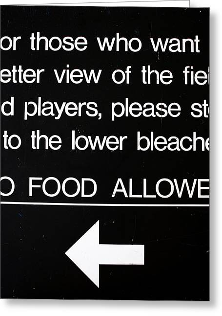 Yankee Stadium Lower Bleachers Sign Greeting Card by Bill Cannon