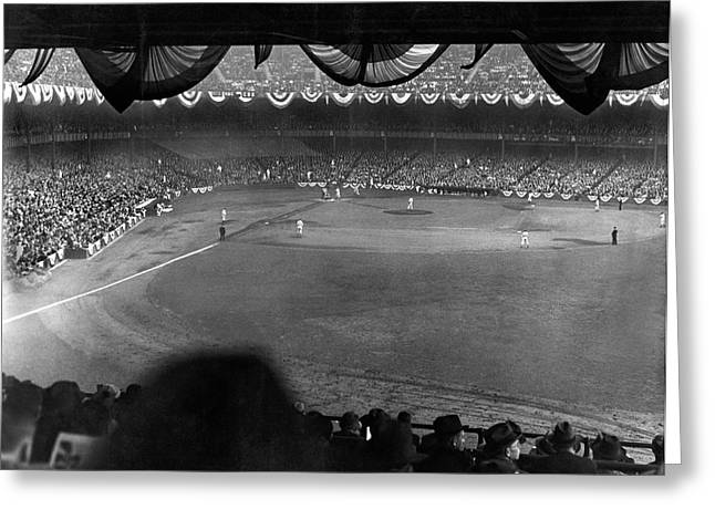 Yankees Defeat Giants Greeting Card by Underwood Archives