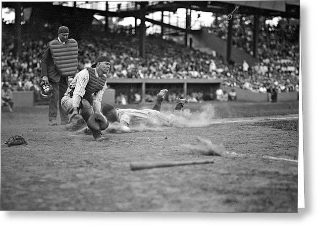 Yankees Lou Gehrig Scores Head First In The 4th Inning Greeting Card by Underwood Archives