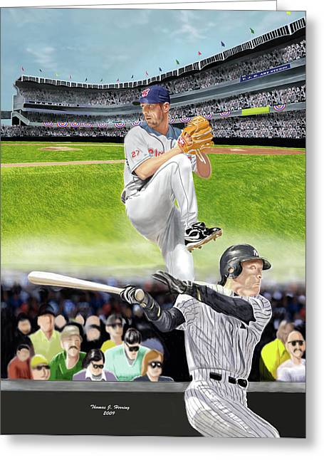 Greeting Card featuring the digital art Yankees Vs Indians by Thomas J Herring