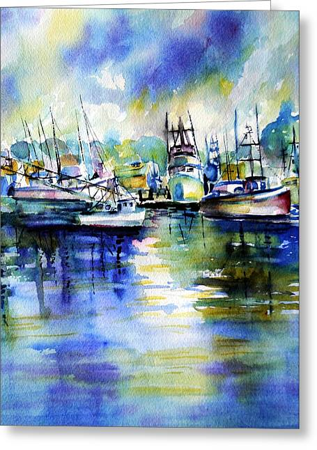 Yaquina Bay Boats Greeting Card