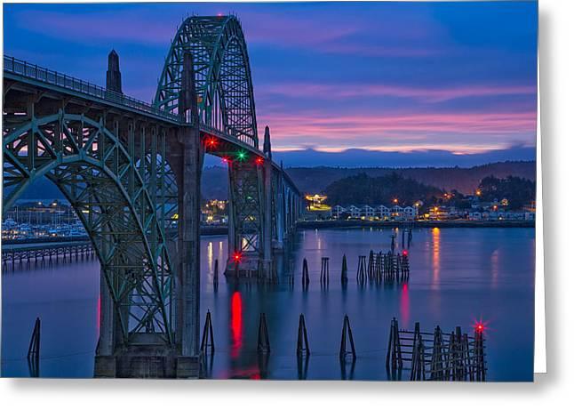 Yaquina Bay Bridge  Greeting Card by Patricia Davidson
