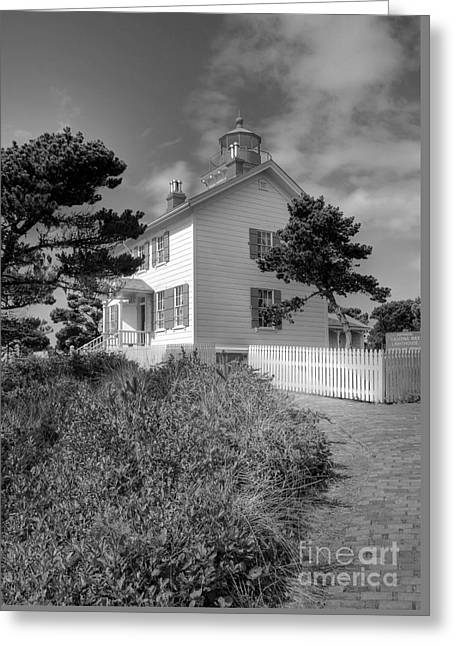 Yaquina Bay Light 2 Bw Greeting Card by Mel Steinhauer