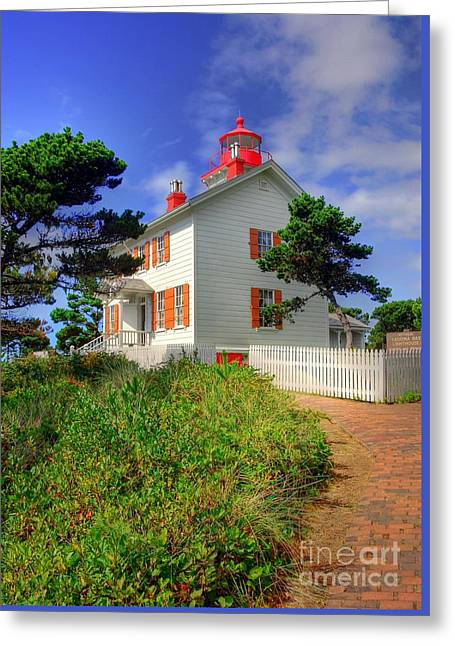 Yaquina Bay Light 2 Greeting Card by Mel Steinhauer